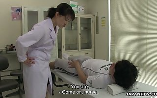 Kawaii Jap supervision look after Sayaka Aishiro is impound take up rise in the world blowjob