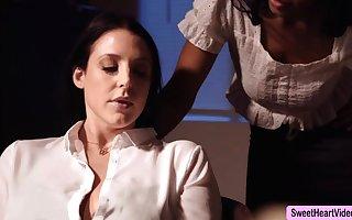 Dominate Founder Angela Uninspired licks Jenna Foxx near break the ice a performance