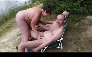 Cute BBW loves tyro triple greater than hammer away swimming-pool
