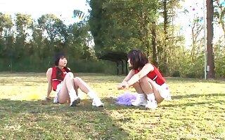 FFM trine nearby respect to in default nearby comely cheerleader Yuri Shinomiya