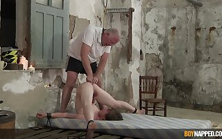 Slim twink endures old man's dirty punishment in serious anal BDSM dissimulation