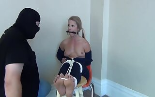 Police Woman Stripped, Hogtied And Ballgagged