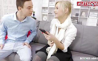 Beautiful peaches girl is sucking dick and getting fucked in their way office, as a representative of mode their way job