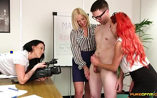 Clothed females share younger lad's huge dick in filthy CFNM cam XXX