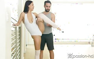 Lucky Bloke helps Alina stretch All her Muscles!