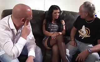 Brunette babe Amanda Blak enjoys shagging with two guys convenient rather than